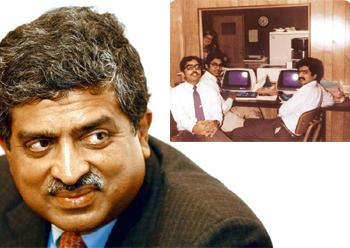 The big picture: (top, from left) K. Dinesh, Roy Eapen Jacob and Nilekani in Tampa, Florida; (left) Nilekani's book, Imagining India, will release in November.