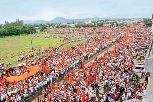 A file photo of members of the Maratha community at a rally demanding reservation in government jobs and admission in govt-run schools and colleges. Photo: Hindustan Times