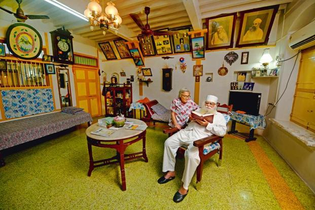 Ervad Rustomji Padsha Antia, one of the oldest residents of Navsari, at his 100-year-old house in Tarota Bazaar. Photo: Abhijit Bhatlekar/Mint
