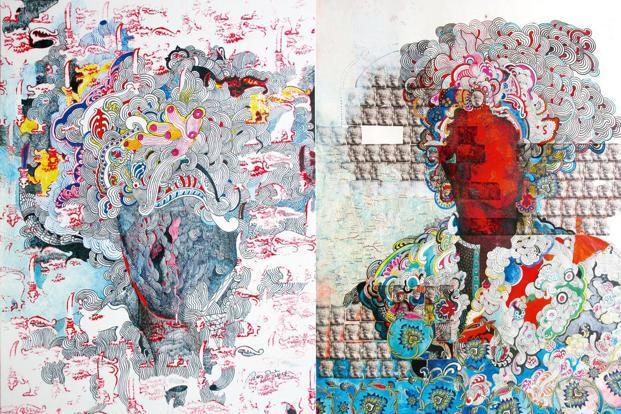 (From left) 'Ancestral Dress 01' (2017); and 'Ancestral Dress 02' (2017) by Pala Pothupitiye. Photos courtesy Blueprint 12