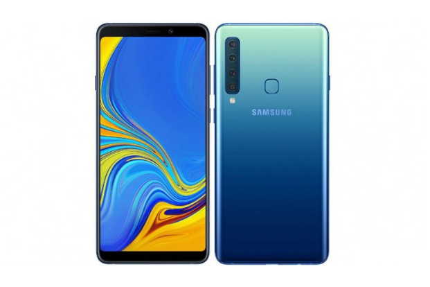 The Samsung Galaxy A9 has four cameras at its back arranged in a linear fashion.