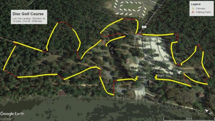 Satellite Image of Disc Golf Course at Live Oak Landing