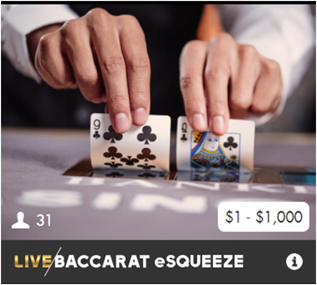 Live Baccarat game variant- esqueeze