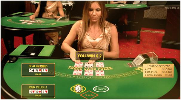 Three card poker live casino game