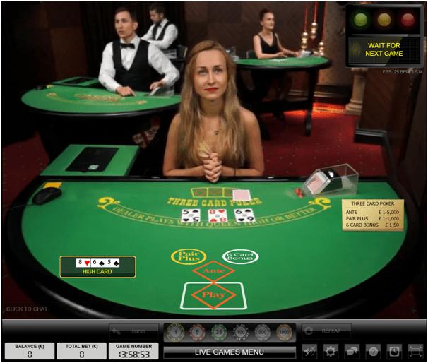 Three card poker live casino