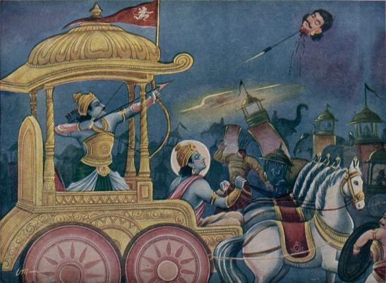 Death of Jayadratha by Arjuna
