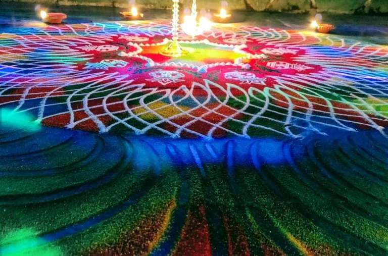 Rangoli Design at the entry of Home