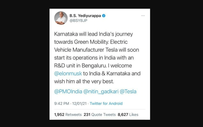 Chief Minister BS Yediyurappa tweeted welcoming Tesla to India. However, the tweet was later deleted.