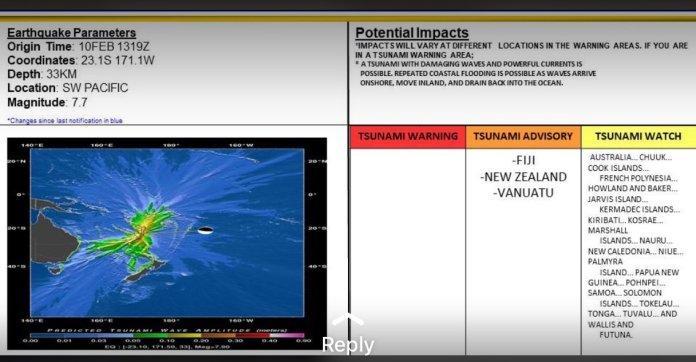 Magnitude 7.7 Earthquake Strikes New Zealand; Tsunami Alert Issued for New Zealand, New Caledonia, Vanuatu