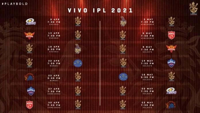 IPL 2021 Royal Challengers Bangalore Full Schedule