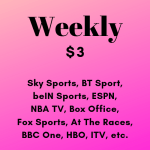 Weekly Subscription of Live Premium TV HD Channels 24/7 (Sports and Other Channels) (No Ads) (Desktop / Mobile)