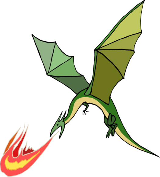 cartoon image of a winged dragon breathing fire