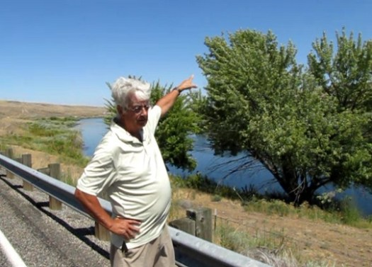 Professor Peter Beach explains how the flying light left the tree one night, by the Yakima River, Washington state