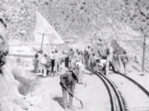 19th-century railway workers, probably in a desert in California
