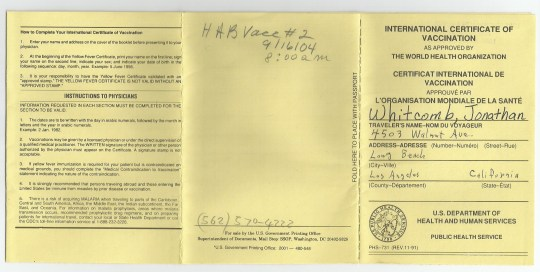 International Certificate of Vaccination for Whitcomb