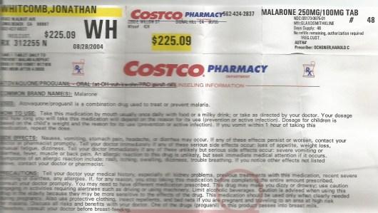 Costco pharmacy prescription filled for malarone