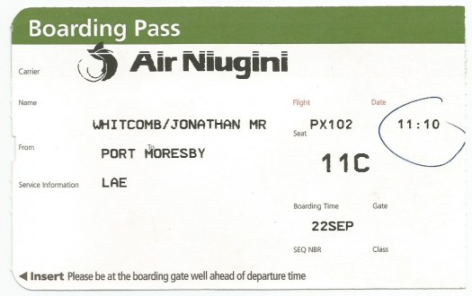 boarding pass - Port Moresby to Lae - 22-Sep