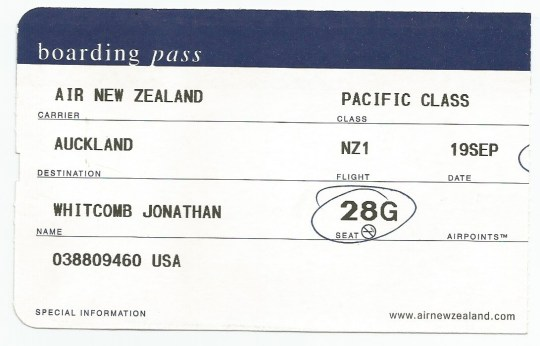 boarding pass for Jonathan Whitcomb - LAX to Auckland, New Zealand