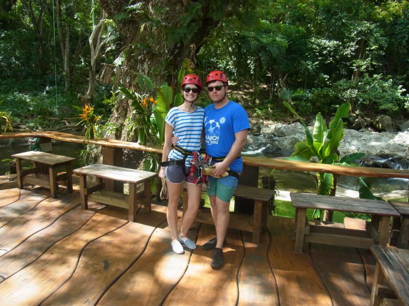 Ready to zipline in Fiji