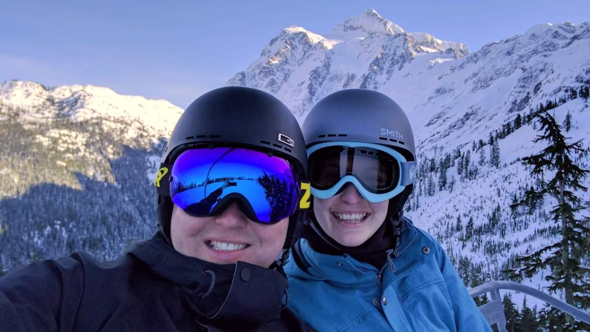 Tom and Dani Mt Baker riding chairlift - Live Recklessly