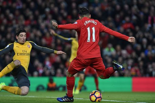 Roberto Firmino of Liverpool Scores the opener for liverpool during the Premier League match between Liverpool and Arsenal at Anfield on March 4, 2017 in Liverpool, England. (Photo by Andrew Powell/Liverpool FC via Getty Images)