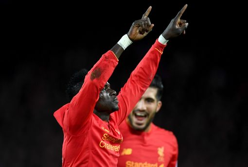 Sadio Mane of Liverpool celebrates scoring his sides second goal during the Premier League match between Liverpool and Arsenal at Anfield on March 4, 2017 in Liverpool, England. (Photo by Laurence Griffiths/Getty Images)