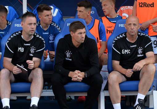 Rangers manager Steven Gerrard, with assistant Gary McAllister in the dug out. (Photo by Mark Runnacles/Getty Images)