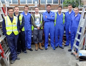 Apprentices from A & B Engineering who worked on the new school