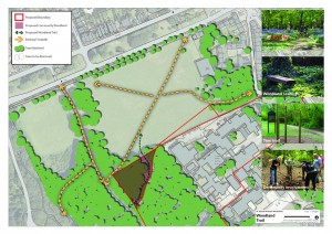 Illustration of proposed St Julie's site including private woodland that will become public space