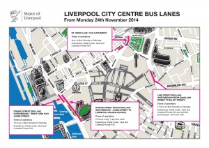 Map of the bus lanes and times of operation