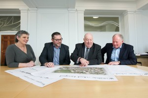 The partners look at the plans for the former Watergate School site