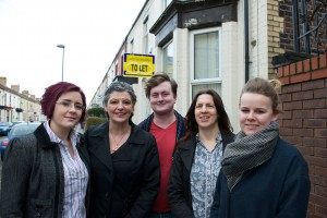 Members of Dales' Residents Association with (L-R) Julie Prestland from Generation Rent, Cabinet member for housing Cllr Ann O'Byrne and local councillor Laura Robertson-Collins (second from right)