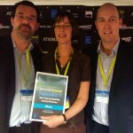 hourbike managing director Tim Caswell and Liverpool City Council cycling officer Karen Stevens receive the Smarter Travel Award 2015