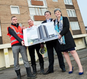L-R: Willmott Dixon's Project Quantity Surveyor, Dave Dobson, Senior Build Manager at Willmott Dixon, Andy Armer, Assistant Director of Development at LMH, Chris Bowen and Liverpool City Council's Cabinet Member for Housing, Cllr Ann O'Byrne at Marwood Tower