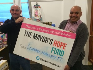 Liverpool Homeless FC receive funding from the Mayor's Hope Fund