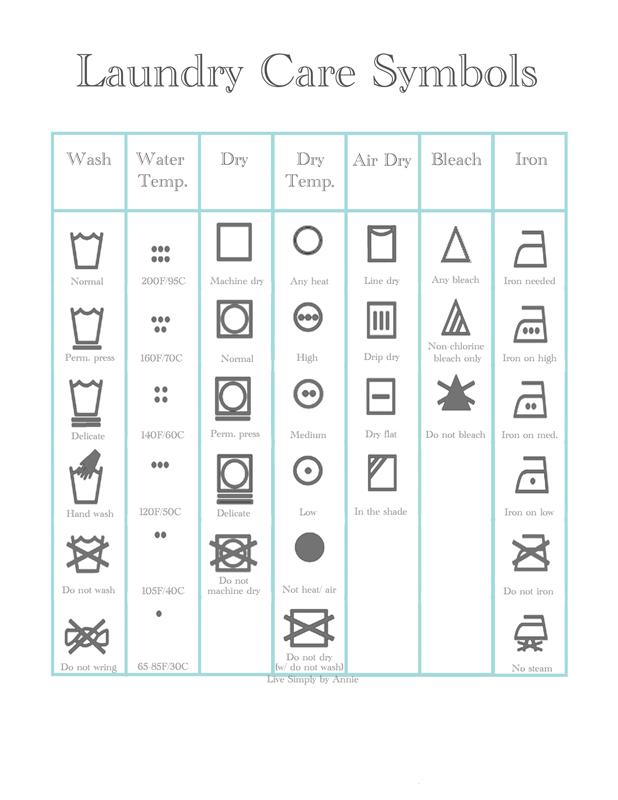 laundry care symbols free printable