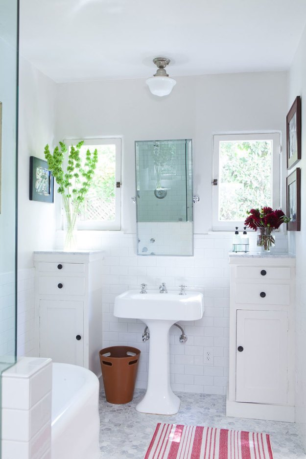 Divine white bathroom with lots of natural light.