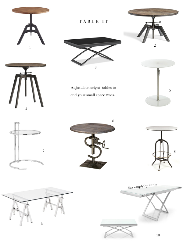 A Godsend For Small Spaces! These Tables Adjust In Height, From Coffee To  Dining