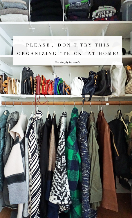 "The common organizing technique that professional organizer Annie Traurig warns against. ""Only use this 'trick' if you want to increase the clutter in your life.'"""