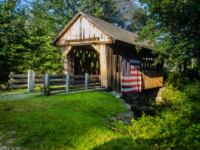 Old covered bridge in summer