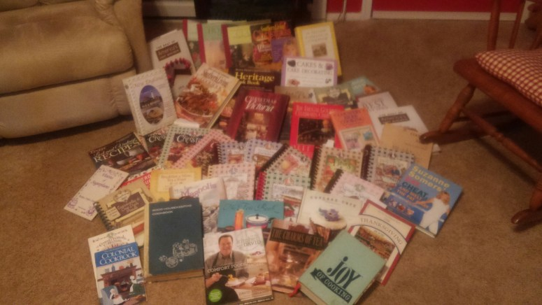 Picture of all my cookbooks