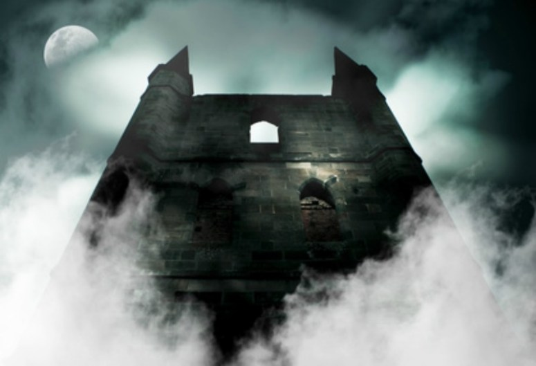 Mist rising over a spooky old castle which would be great for writing horror.