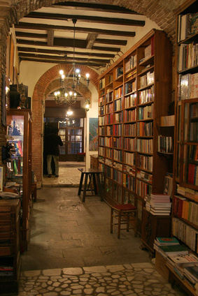 A hall in an old library and shelves filled with books