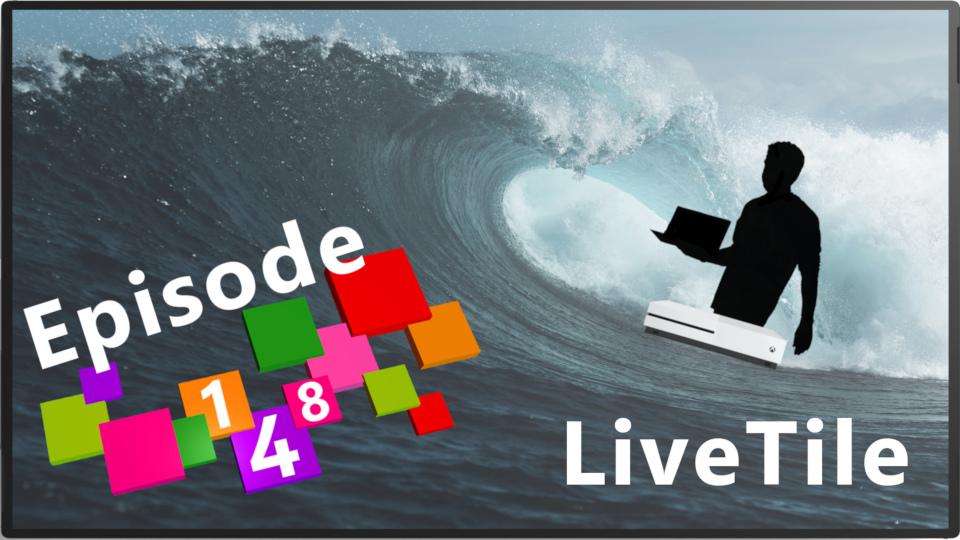 Bannière de l'épisode 148 avec un Surface Hub 2, une Xbox One S qui vogue sur les vagues tout en portant la silhouette de Panos Panay
