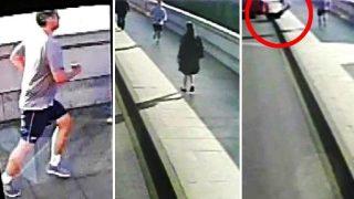 Άντρας κάνει τζόκινγκ και σπρώχνει γυναίκα για να τη χτυπήσουν τα αυτοκίνητα