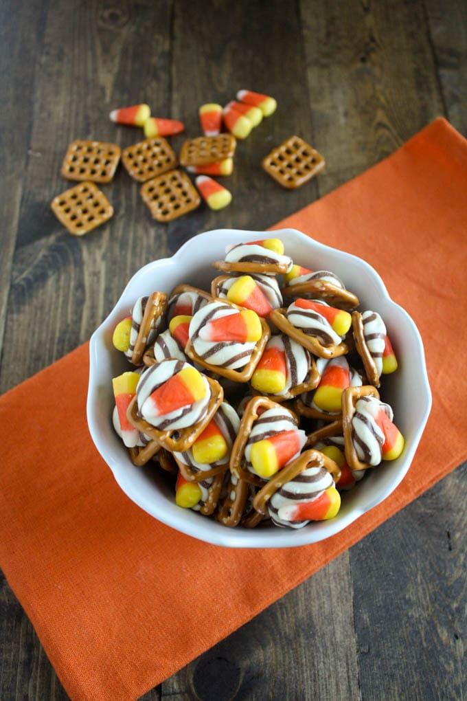Candy Corn Pretzel Bites
