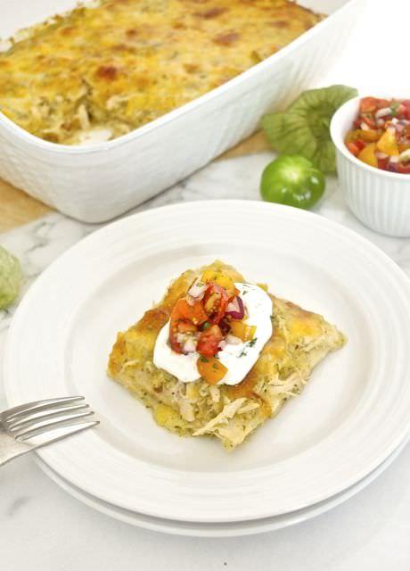 Chicken Verde Enchilada Bake