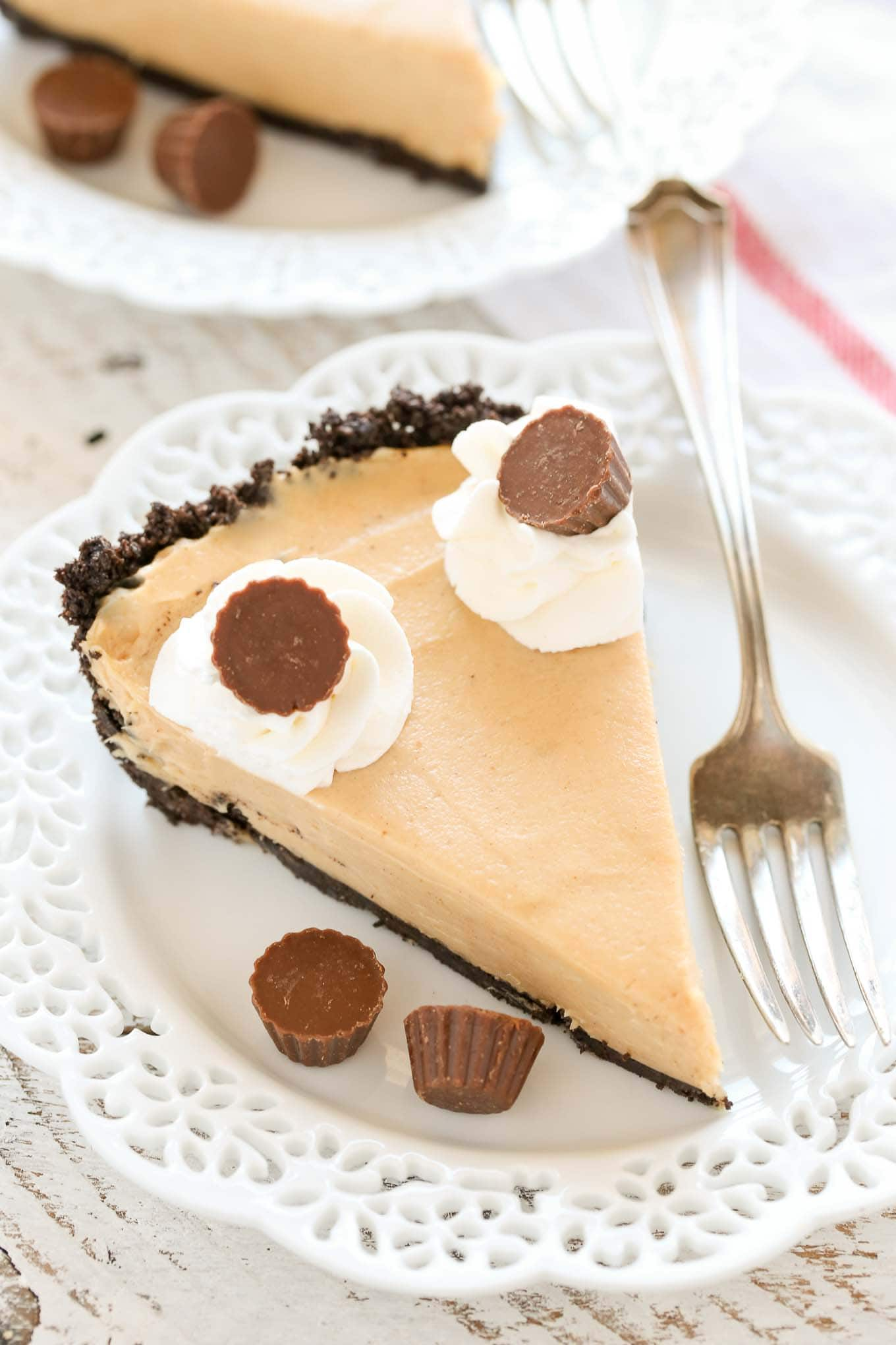 An easy no-bake peanut butter pieon top of a homemade Oreo crust. The perfect pie to enjoy year-round!