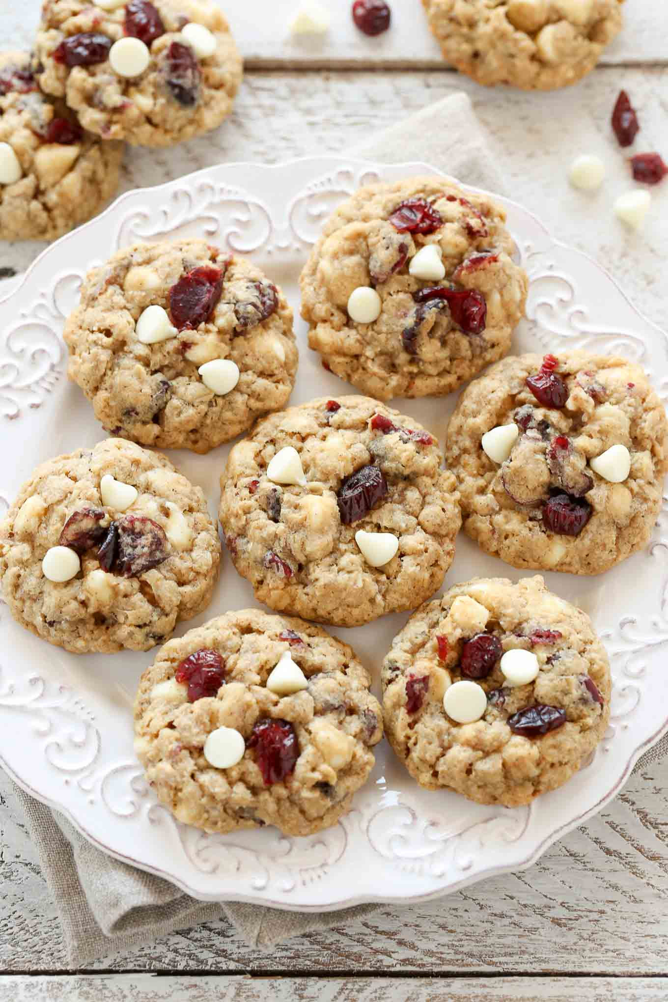 Chewy Oatmeal White Chocolate Cranberry Cookies