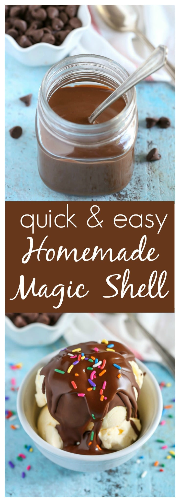 An easy recipe for Homemade Magic Shell with just two ingredients. The perfect topping for almost any ice cream!